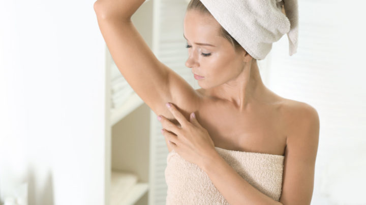 Woman Checking Underarm